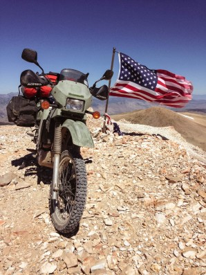 Summit with a loaded KLR.