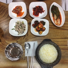 Korean style of eating is great. Many small dishes combined with rice to make yum.