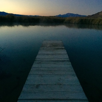 Black Rock Hot Springs at sunset- all to my self. Plenty hot and huge. So quiet. So peaceful.